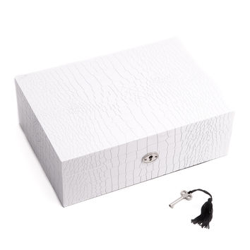 """Secure White """"Croco"""" Design Wood Jewelry Box with Valet Tray"""