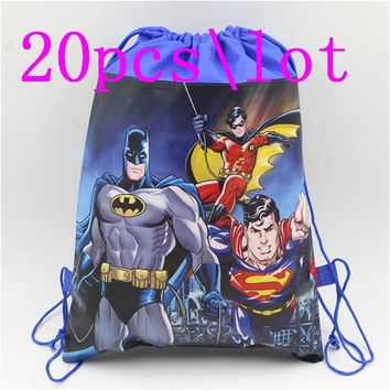 Batman Dark Knight gift Christmas 20pc Fabric Drawstring Gift bag Cool Batman Non-woven Party Gifts Bags Child Birthday Party Kid Favors Cartoon backpack supplies AT_71_6