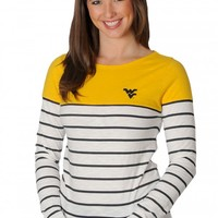 WVU Mountaineers Boat Neck Striped Top - UG Apparel