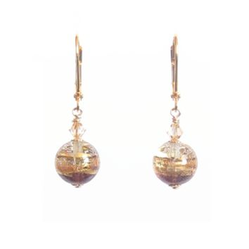 Murano Glass Pale Amethyst Dangle Gold Earrings