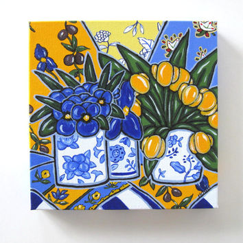Blue Still life Painting Original Acrylic on Canvas, Pansies and Yellow tulips