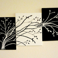 Contemporary Triptych tree art Black and white trees Tree of life wall art, Living room wall decor Three canvas painting Tree set