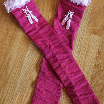 Long hot pink glitter leg warmers,Girls legwarmers, pink organza trim with ballet slipper appliques,handmade,sz medium