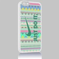Just Do It Nike Aztec Geometric 02 for Iphone 4 4s 5 5c 6 6plus Case (iphone 6 white)