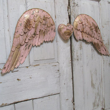 Angel wings with heart large metal wall decor set pink and gold rusted angel wings ornate embellished French Santos style anita spero
