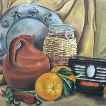 Original pastel painting print. Green , Cream , yellow , brown , black color . Pastel  Still life