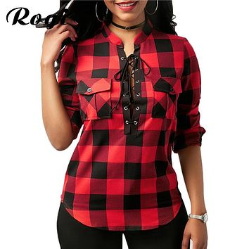 Rogi Womens Tops And Blouses Casual Plaid Shirts Long Sleeve Office Women Blouse Tunic Tops Sexy Lace Up Bandage Shirt Blusas