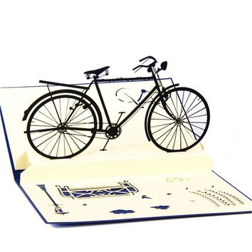 3D Bicycle Handmade Pop Up Christmas Wedding Birthday Invitations Greeting Cards good quality