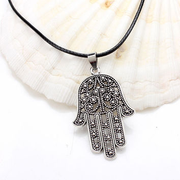 1pc 2015 Good Luck Protection Hamsa Fatima Hand Evil Eye Pendant Chain Necklace antique silver bronze hamsa hand necklace