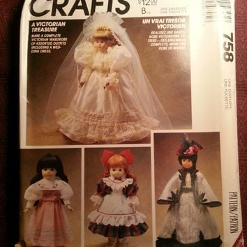 Uncut 1992 McCall's Sewing Pattern, 758! Victorian Doll's/Doll wardrobe/Clothes/Wedding Gowns/Veils/Pinafore/Pantaloon/Arts & Crafts