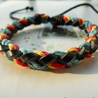 Spring Gift Popular trend Tiny Style Multicolour Cotton Cord and Nature Leather Braid Woven Together Stylish Adjustable Wrap Bracelet  S-32