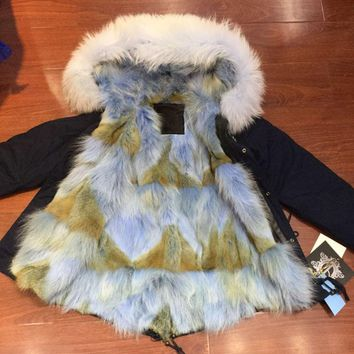 Skyblue coyote fur for ladies winter wear, navy beads fur parka with real fur lined mr mrs wn wear coat