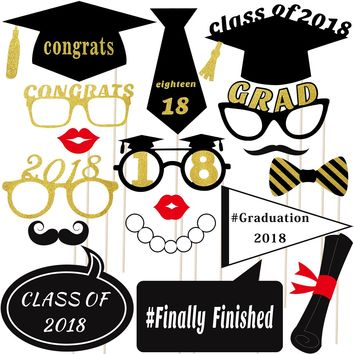 TINKSKY 18 Pcs 2018 Graduation Party Photo Booth Props Kit Glitter Photo Props for Graduation Favors