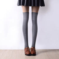2016 New 3 Colors Fashion Women's Socks Sexy Warm Thigh High Over The Knee Socks Long Cotton Stockings For Girls Ladies Women