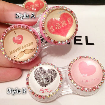 Heart Crystal Contact Lenses Case,Cute Travel Eye Contact Lens Case Care Kit Box