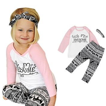"""3PC """"Little Miss Awesome"""" Outfit"""