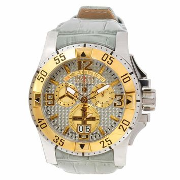 Invicta 12482 Men's Reserve Excursion Grey Carbon Fiber Dial Two Tone Steel Leather Strap Chronograph Dive Watch