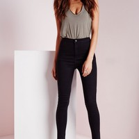 Missguided - Petite Vice High Waisted Skinny Jeans Black