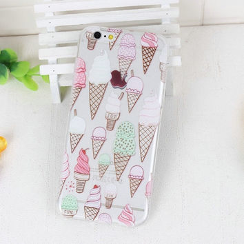 Ice Cream Clear Phone Case For iPhone 7 7Plus 6 6s Plus 5 5s SE