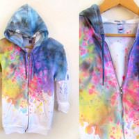 Splash Dyed Hand PAINTED Fleece Pocket Zip Hoodie by twostringjane
