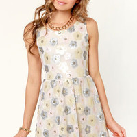 Perennial Party Cream Sequin Dress
