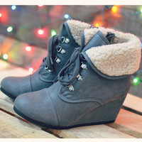 When Skies Are Gray Wedge Fur Booties