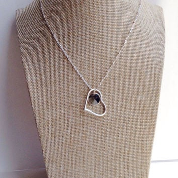 Silver Heart Necklace. Personalized Heart Necklace with Hand Stamped Name. Initial Necklace