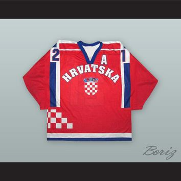 Ivan Brencun 21 Croatia National Team Red Hockey Jersey