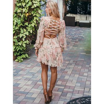 Boho Chiffon Lace Up Back Lantern Sleeve Mini Dress (Pink)