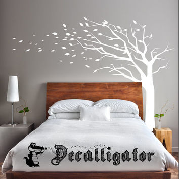 Wall Decal - Tree Blowing in Wind - Beautiful Nature Vinyl Decal [008]