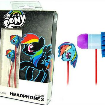 My Little Pony Rainbow Dash 3.5mm In Ear Headphones Rubber EarBuds Earphones NEW