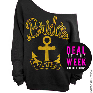Anchor Bridesmates - Black with Gold Off The Shoulder Slouchy Sweatshirt