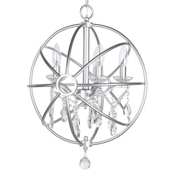 5 Light Modern Crystal Orb Plug-In Chandelier (Silver)