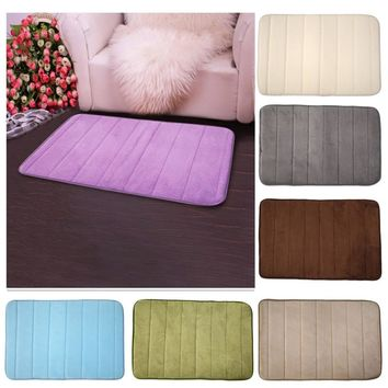 Memory Foam Velvet Fabric Memory Foam Bath Mats Bathroom Horizontal Stripes Rug Non-slip Bath Mats