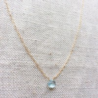 Aquamarine March Birthstone Gold Filled Chain Necklace