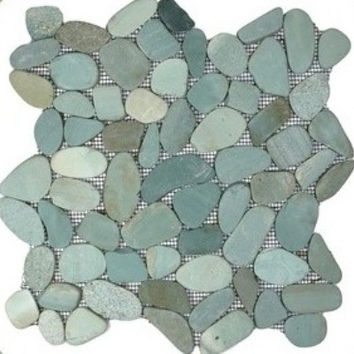 Green Sliced Pebble Tile