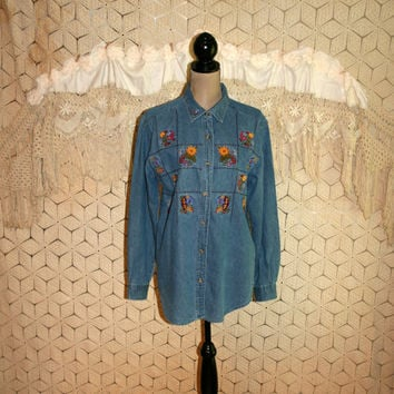 Embroidered Denim Shirt Long Sleeve Fall Clothing Floral Applique Button Up Sunflower Novelty Shirt Bobbie Brooks Size Large Womens Clothing