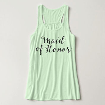Glitter Print, Maid Of Honor, Racerback, Bachelorette Party Tank Top, Bridal Party Tank Top