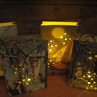 4 Luminaries, Where Wild Things Are, Medium Sized Luminaries, Fashioned From Book Pages, Where The Wild Things Are Party Decor, Night Lights