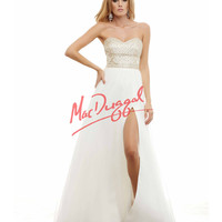 Beautiful Strapless Ivory Grecian Gown Prom 2015