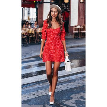 Don't Fight The Feeling Red White Polka Dot Pattern Short Ruffle Sleeve Square Neck A Line Flare Casual Mini Dress
