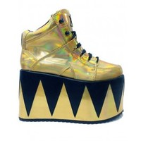 YRU Gold Disco Platform Shoes