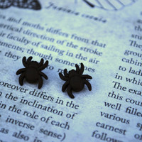 Spider Earrings -- Black Spider Studs, Spider Studs, Halloween