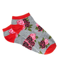 Heathered Rose-Patterned Socks