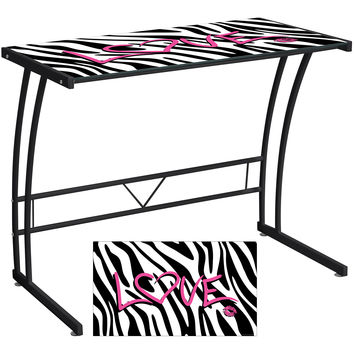 Graphic Top Sigma Desk, Black Frame/Zebra Love