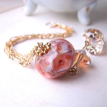 Coral Reef lampwork crystal gold filled chain by shadowjewels