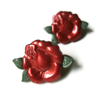 Rose Stud Earrings, Acrylic, Red And Green, Choice of Silver Toned or Surgical Steel Posts