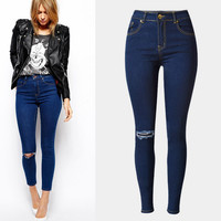 Deep Blue Left Knee Hole Pocket Design Trousers