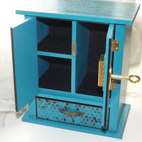 LOCKABLE Armoire - HANDMADE Turquoise Shabby Chic, Cottage Chic Armoire with base Drawer and FREE matching Pendant