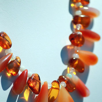 Amber, Ethiopian Opal and Bi-Color Chalcedony Necklace